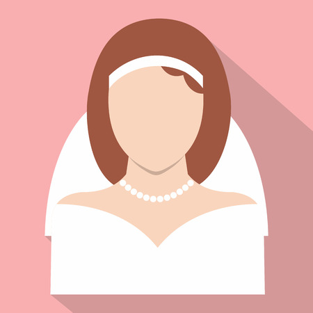 vow: Bride flat icon for web and mobile devices