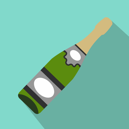uncorked: Bottle of champagne flat icon for web and mobile devices