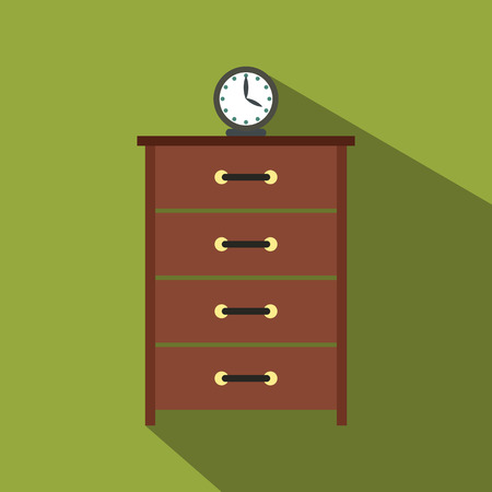 baroque room: Dresser with a clock flat icon for web and mobile devices Illustration