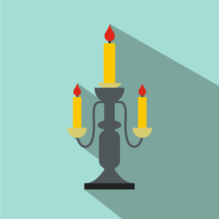 candlestick: Candlestick lamp flat icon for web and mobile devices Illustration