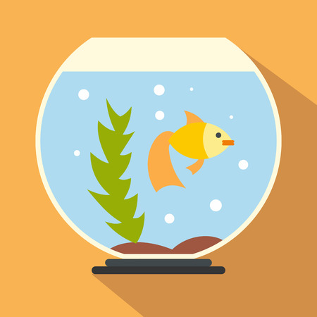 ichthyology: Aquarium flat icon for web and mobile devices Illustration
