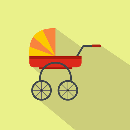 nursing mother: Baby carriage flat icon for web and mobile devices