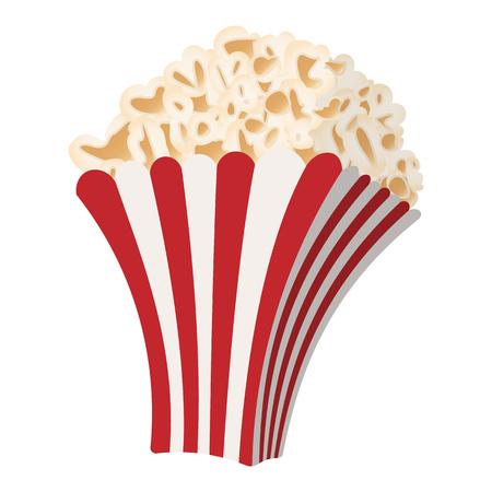 palomitas de maiz: Icono de la historieta de las palomitas aislado en fondo blanco