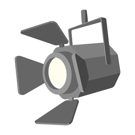 tripod projector: Movie spotlight cartoon icon isolated on white background