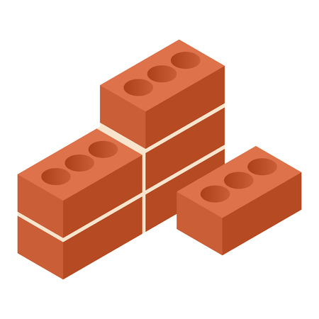 brick: Bricks isometric 3d icon isolated on white background