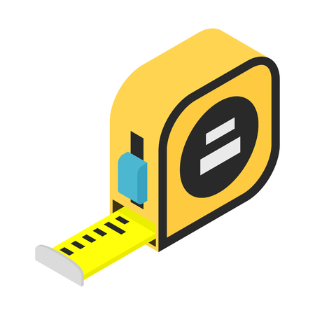 Builders tape measure isometric 3d icon isolated on white background Illustration