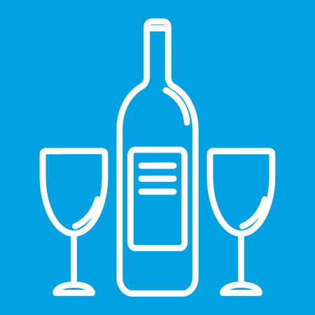 glases: Wine bottle and glases thin line icon for web and mobile devices