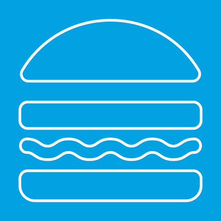 lunchroom: Burger thin line icon for web and mobile devices Illustration