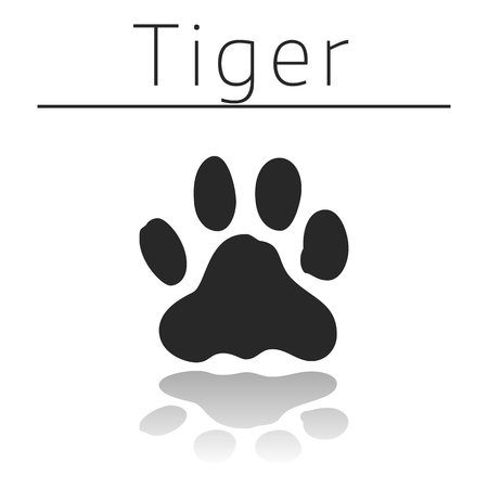 track pad: Tiger animal track with name and reflection on white background Illustration