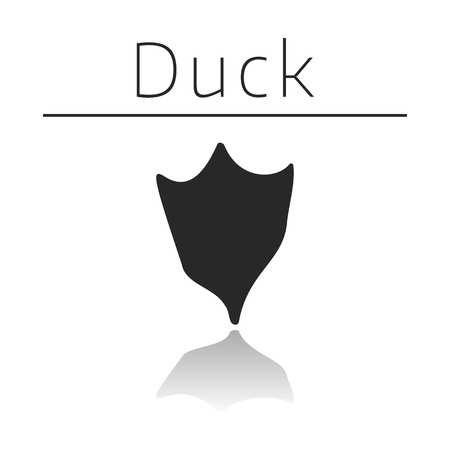 ison: Duck animal track with name and reflection on white background