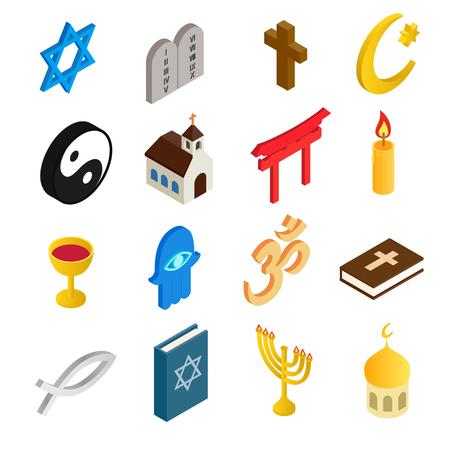 jain: Religion isometric 3d icons set isolated on white background