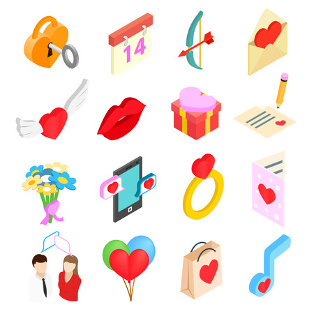message icon: Valentines isometric 3d icons set isolated on white background