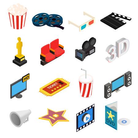 3d icons: Cinema isometric 3d icons set isolated on white background