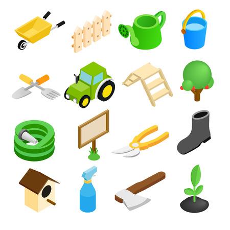 dacha: Garden isometric 3d icons set isolated on white background Illustration