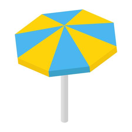 sunshade: Beach sunshade isometric 3d icon isolated on white background