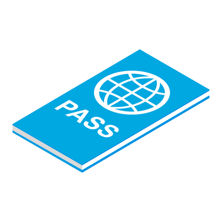 customs official: Passport isometric 3d icon isolated on white background Illustration