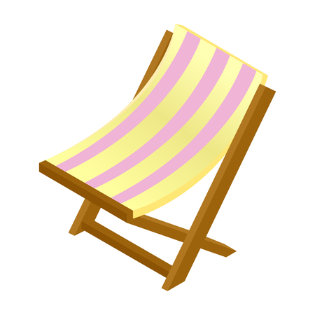 chaise: Wooden chaise lounge isometric 3d icon isolated on white background Illustration