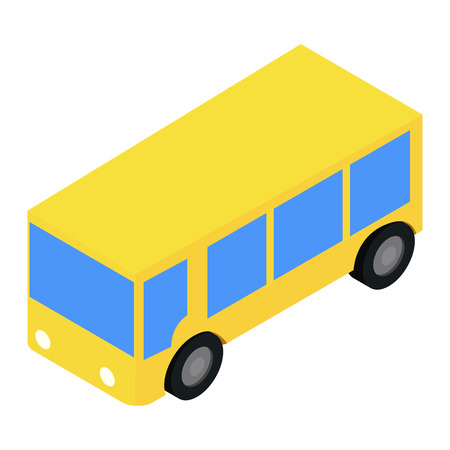 bus stop: Bus isometric 3d icon isolated on white background