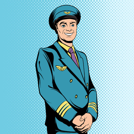 flight: Flight captain in comics style for web and mobile devices Illustration
