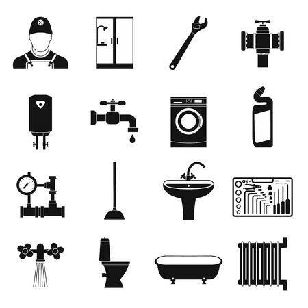 sanitary engineering: Sanitary engineering simple icons set for web and mobile devices