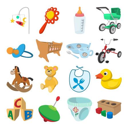 ni�os en bicicleta: Iconos de la historieta del beb� fijada para la web y dispositivos m�viles Vectores