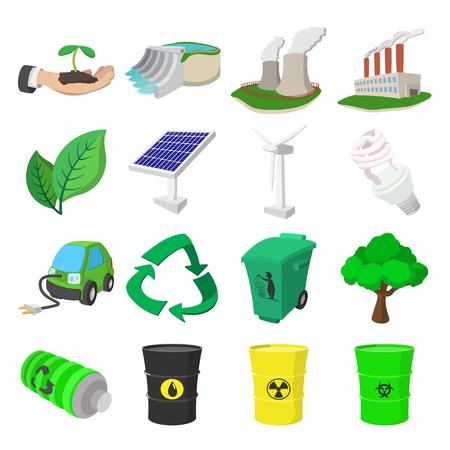 ecology icons: Ecology cartoon icons set. 16 color symbols Illustration