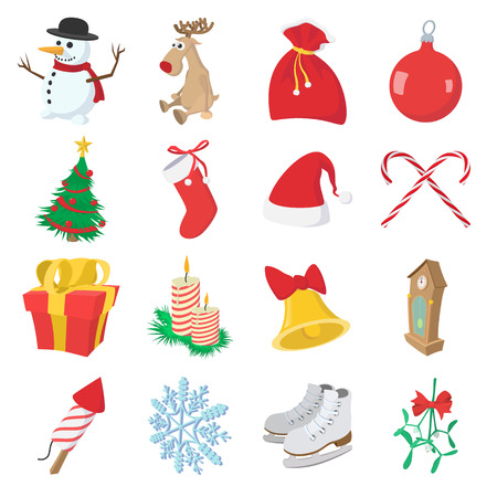 man in hat: Christmas cartoon icons set isolated on white background