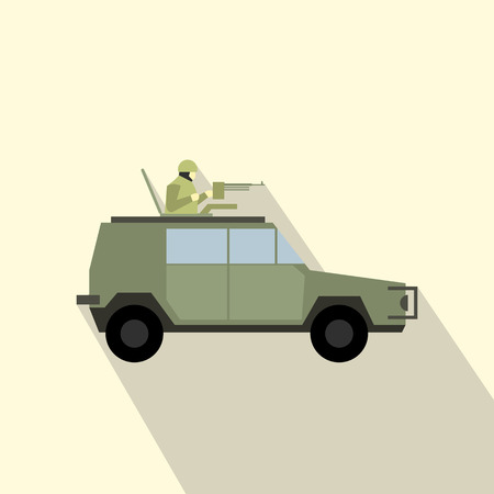 freewheel: Military war car flat icon for web and mobile devices Illustration