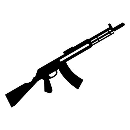 kalashnikov: Submachine gun simple icon for web and mobile devices Illustration