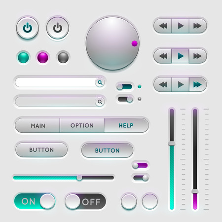 navigation bar: Interface web ui elements. Buttons, Switchers and Slider on gray background
