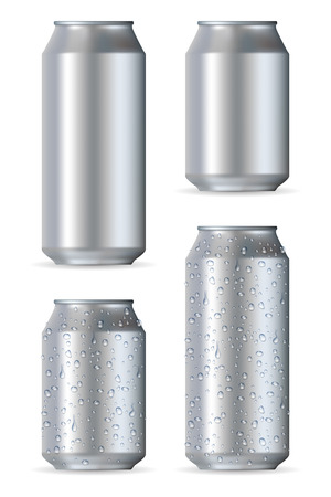 water can: Aluminum realistic cans isolated on white background