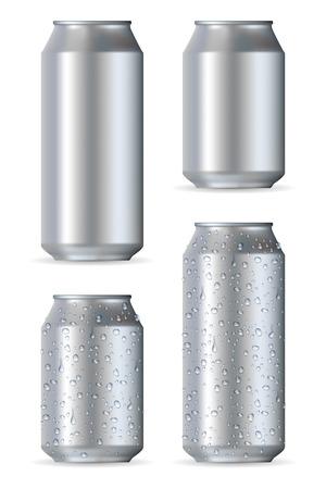 lata de refresco: Latas de aluminio realistas aislados sobre fondo blanco