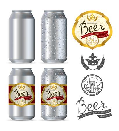 lata de refresco: Latas realistas cerveza de aluminio aislado en el fondo blanco Vectores