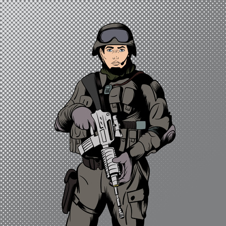 security uniform: Military man in comics style for web and mobile devices