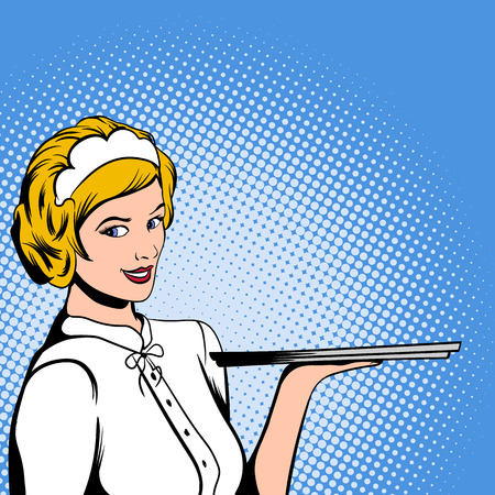 waiter tray: Waitress in comics style for web and mobile devices