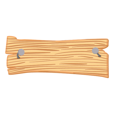 wood board: Wooden cartoon sign isolated on white background Illustration