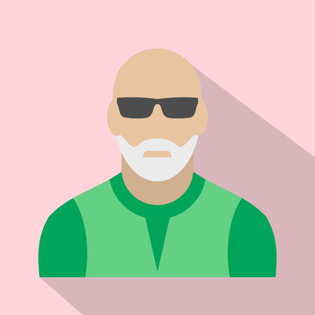 gray beard: Man with gray beard avatar icon for web and mobile devices Illustration