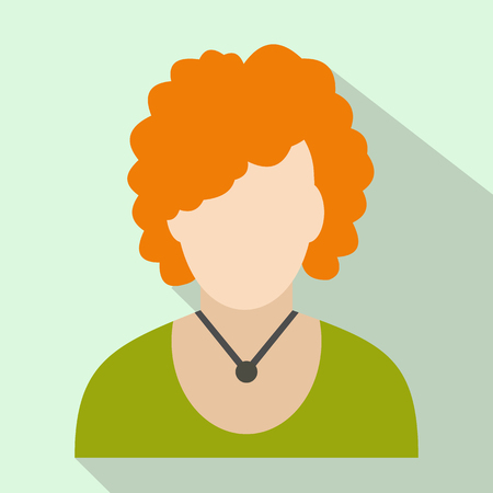 redhead woman: Redhead woman avatar icon for web and mobile devices