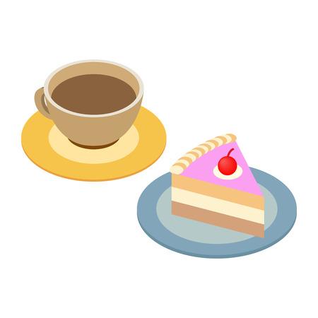 trozo de pastel: Taza de café y pedazo de torta icono 3D isométrica Vectores