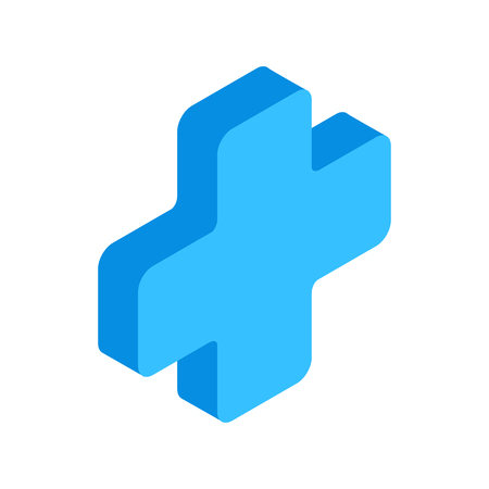 medical cross symbol: First aid isometric 3d icon for web and mobile devices