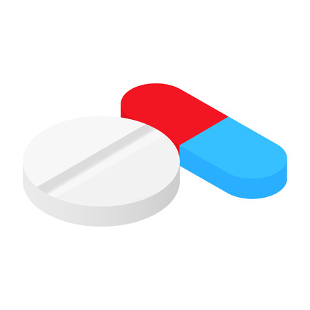 vitamin pills: Pills isometric 3d icon for web and mobile devices