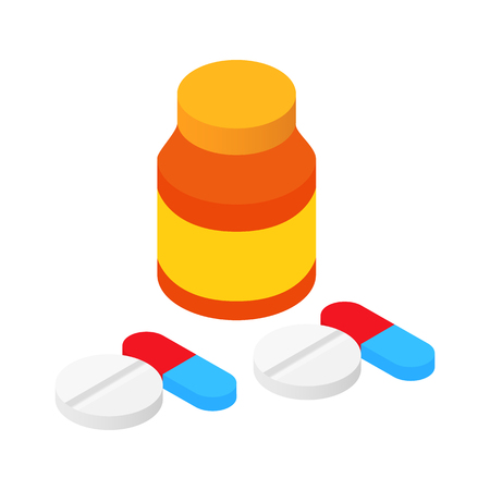 pharmacy pills: Bank tablets and pills isometric 3d icon for web and mobile devices