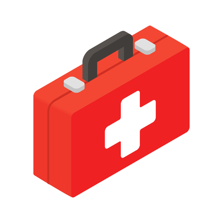 first aid box: First aid or medical kit isometric 3d icon Illustration
