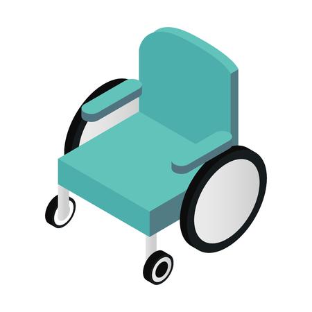 Wheelchair isometric 3d icon isolated on white background Ilustração
