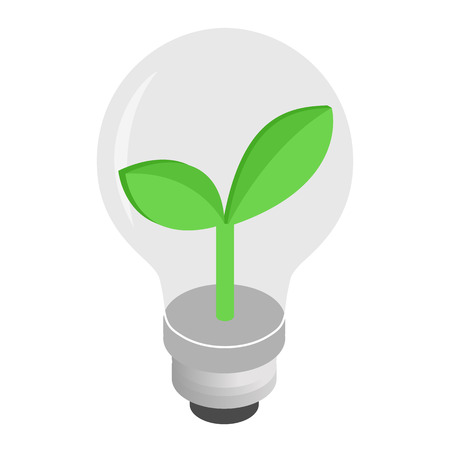 Eco lightbulb isometric 3d icon for web and mobile devices Illustration