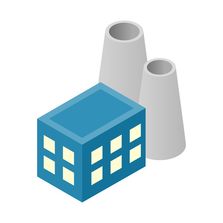 powerhouse: Nuclear power plant isometric 3d icon for web and mobile devices