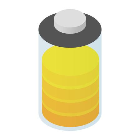 bateria: Icono de la batería 3d isométrica para web y dispositivos móviles Vectores