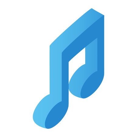 notes: Music note isometric 3d icon for web and mobile devices Illustration