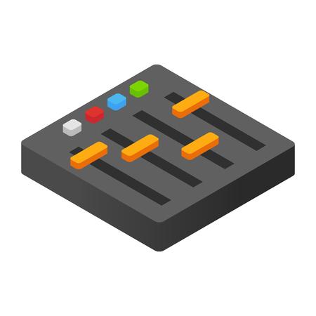 Audiomixer isometrische 3d pictogram voor web en mobiele apparaten