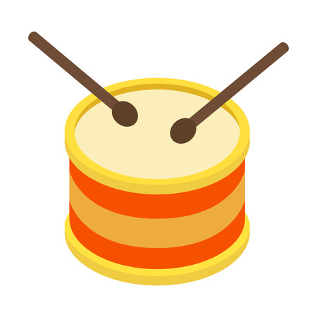 drum and bass: Drum isometric 3d icon for web and mobile devices Illustration